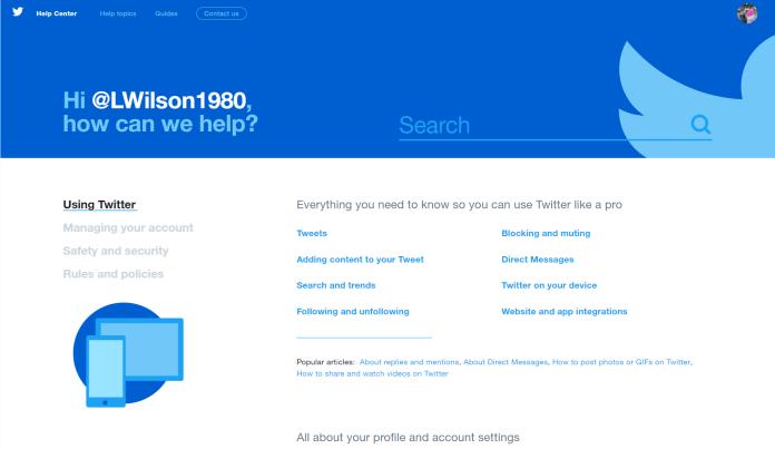 Twitter FAQ page