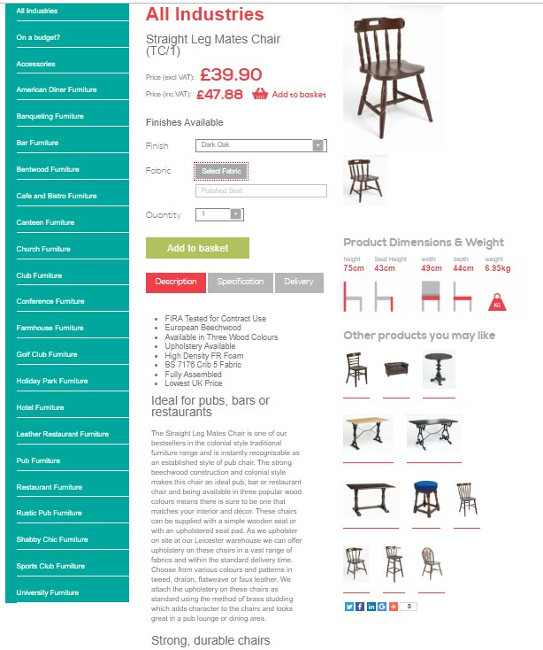 Trent Furniture - e commerce store example