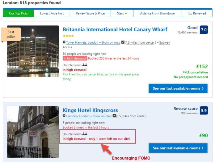 Bookings.com Scarcity