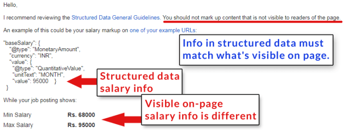 Screenshot of a post in Google's Webmaster Help Forums of a publisher penalized for using structured data that didn't match what was on the page