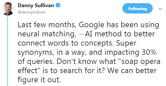Screenshot of a tweet by Danny Sullivan