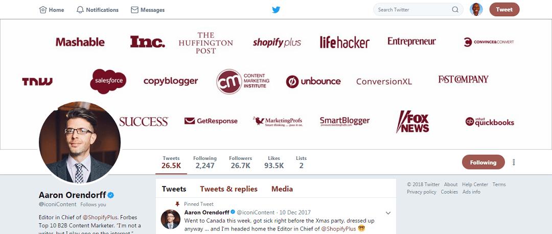 Aaron Orendorff Twitter Profile