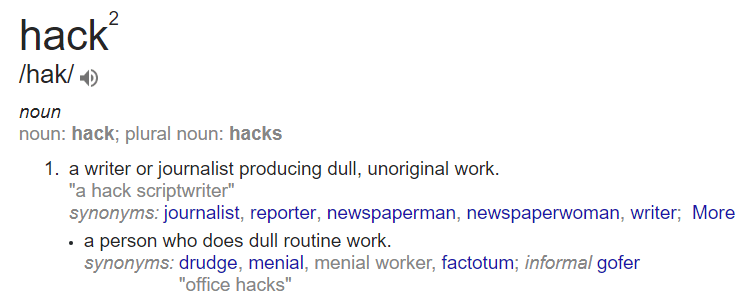 "meaning of the word ""hack"""