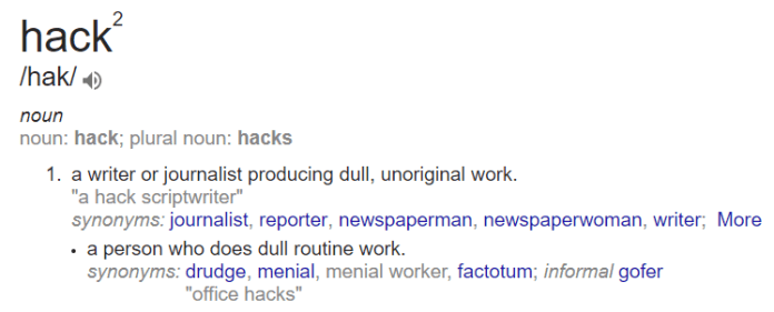 """meaning of the word """"hack"""""""