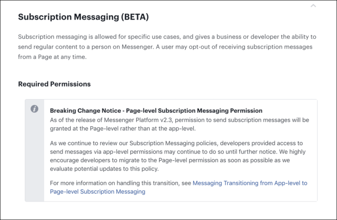 Facebook Extends Deadline for Subscription Messaging Permissions