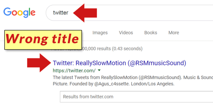 Screenshot of Google's search result for the phrase, Twitter.