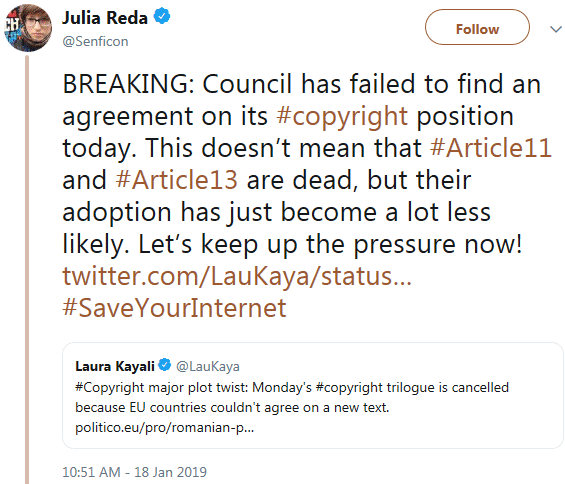 Screenshot of a tweet by Julia Reda