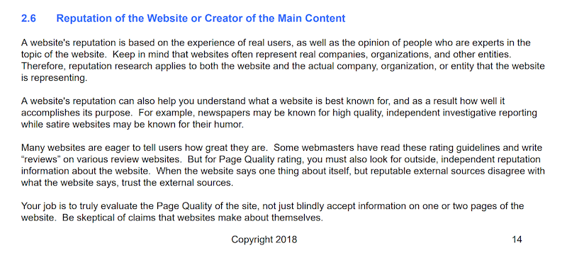 website reputation guidelines