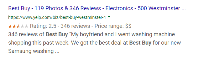Best Buy Reviews Snippet