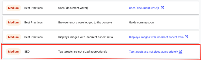 Google's Lighthouse SEO Audit Tool Now Measures Tap Target Spacing