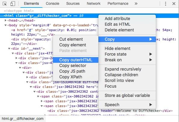 Copy outerHTML screenshot