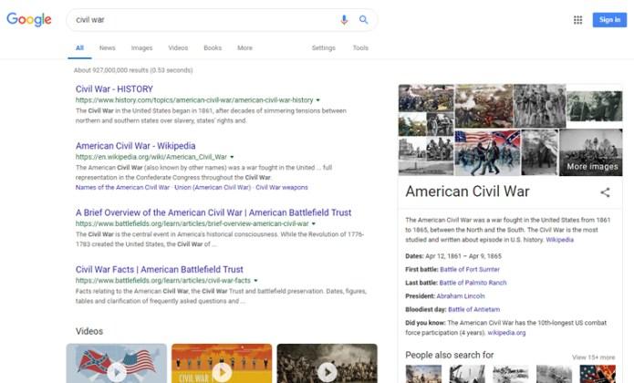 Google SERP For Civil War