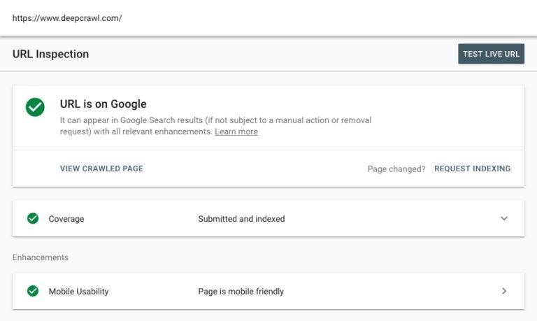 URL Inspection Tool screenshot