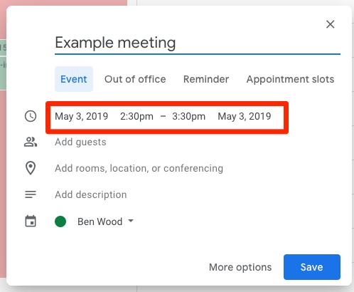 Default event length in Google Calendar