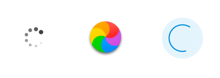 Three different loading wheel icons