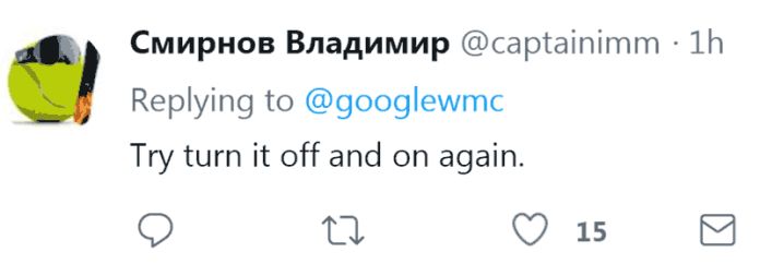 Screenshot of a humorous tweet in response to Google's announcement to yet another outage