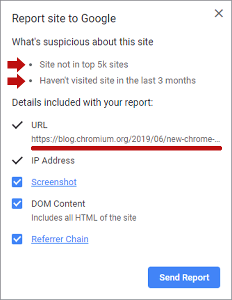 Screenshot of Chrome Extension flagging it's own blog page as suspicious