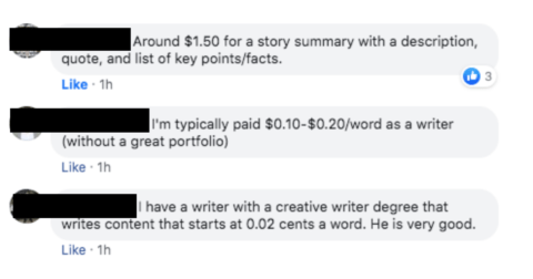 Members of SEO Signals Lab Facebook group discussing cost of SEO content.