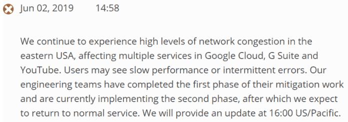 Screenshot of an official Google cloud announcement of an outage