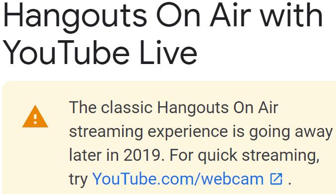 Screenshot of official Google notice that Hangouts is going away.