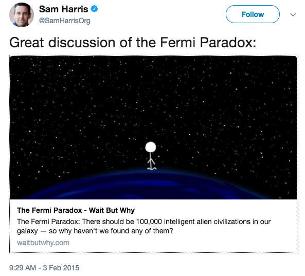 Sam Harris tweet