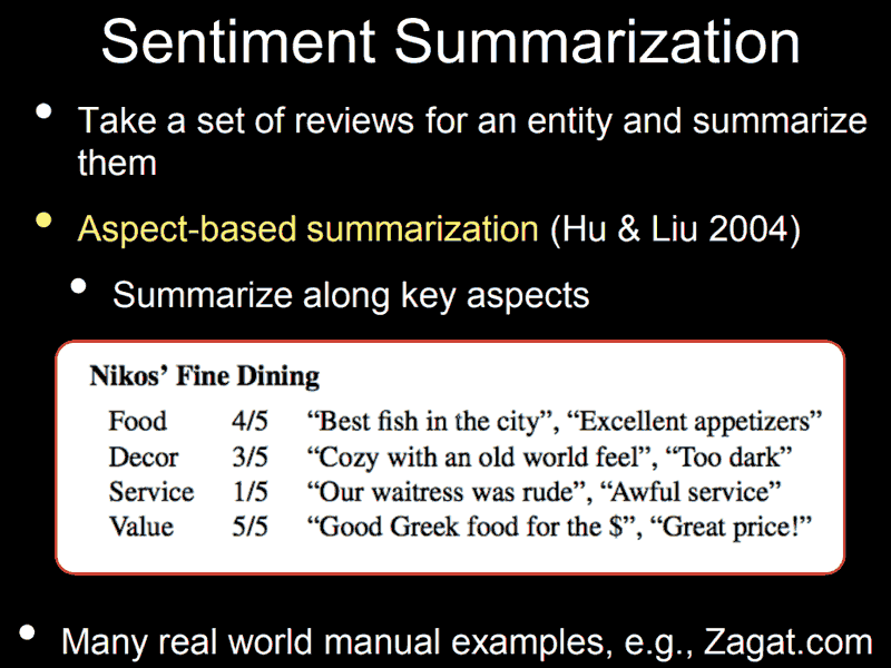 Screenshot of a Google presentation about Sentiment Summarization