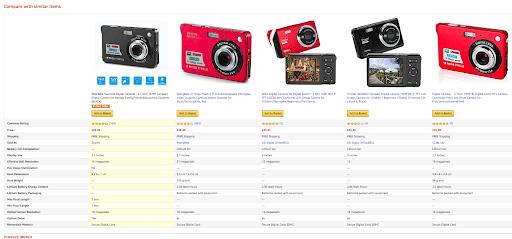 Tableau de comparaison des produits Amazon