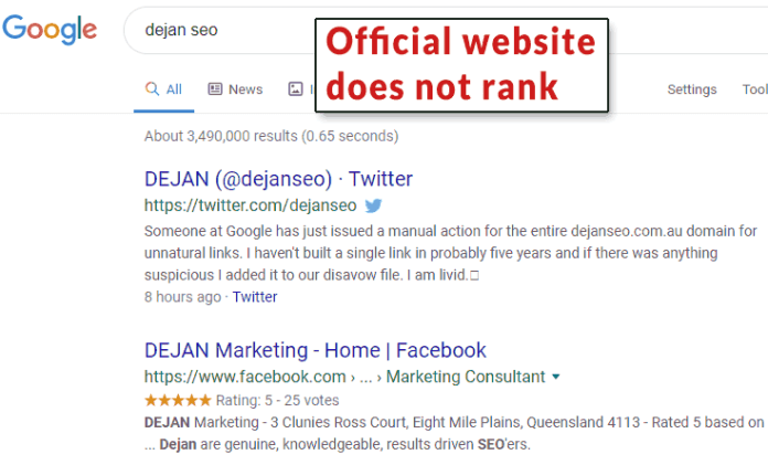 Screenshot of Google's search results showing that Dejan SEO does not rank for its own brand name