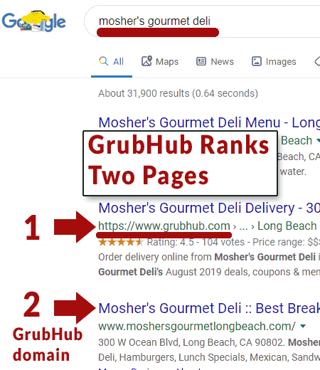 screenshot of google's search results