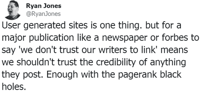 screenshot of ryan jones tweet about nofollow links