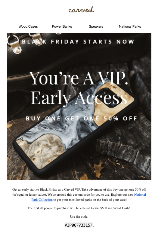 VIP Early Access email from Carved