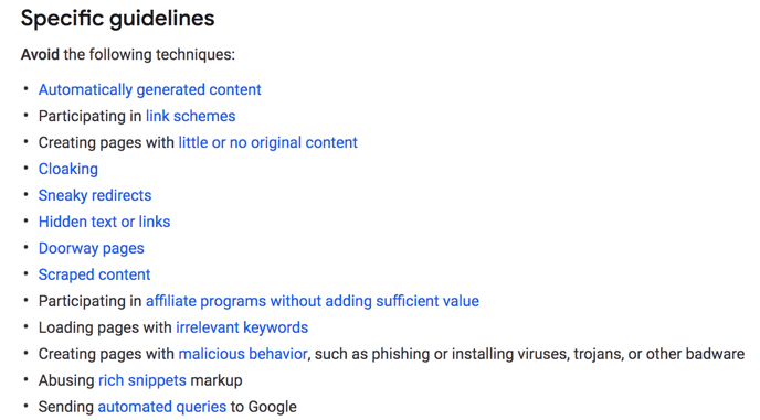 Webmaster Quality Guidelines - Manual Action