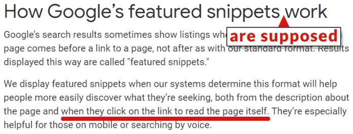 Screenshot of Google's help page describing how featured snippets work
