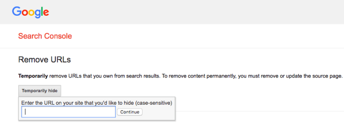 Remove URLs tool in Google Search Console