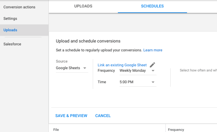 Schedule Upload