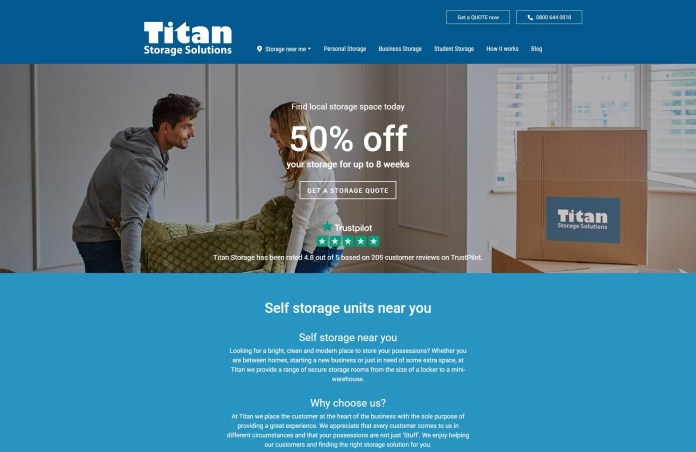 Titan Storage Solutions home page example