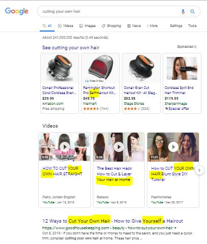 cutting your own hair google query
