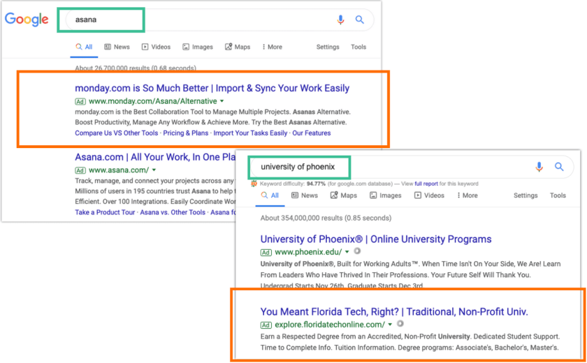 competitors running google ads against brand terms