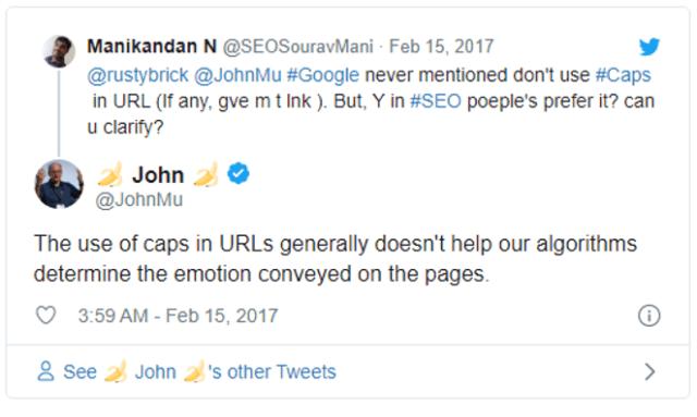 John Mueller: Caps in URLs don't help our algorithms understand emotion