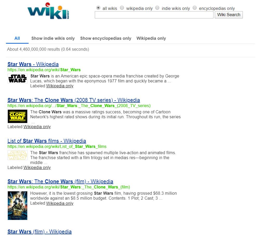 Wiki search engine.