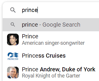 Closeup of Google Suggest with thumbnail images