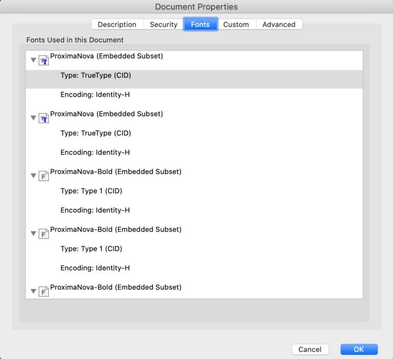 Optimized PDF Font