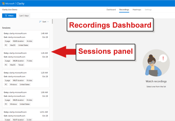 Clarity Analytics Recordings Dashboard