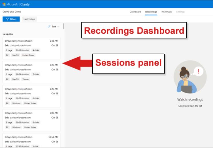 Clarity Analytics Recordings Dashboard