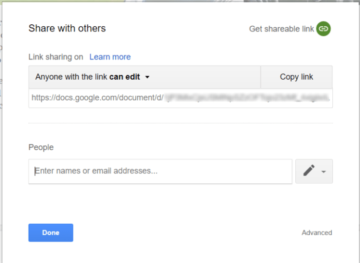 Google Docs sharing