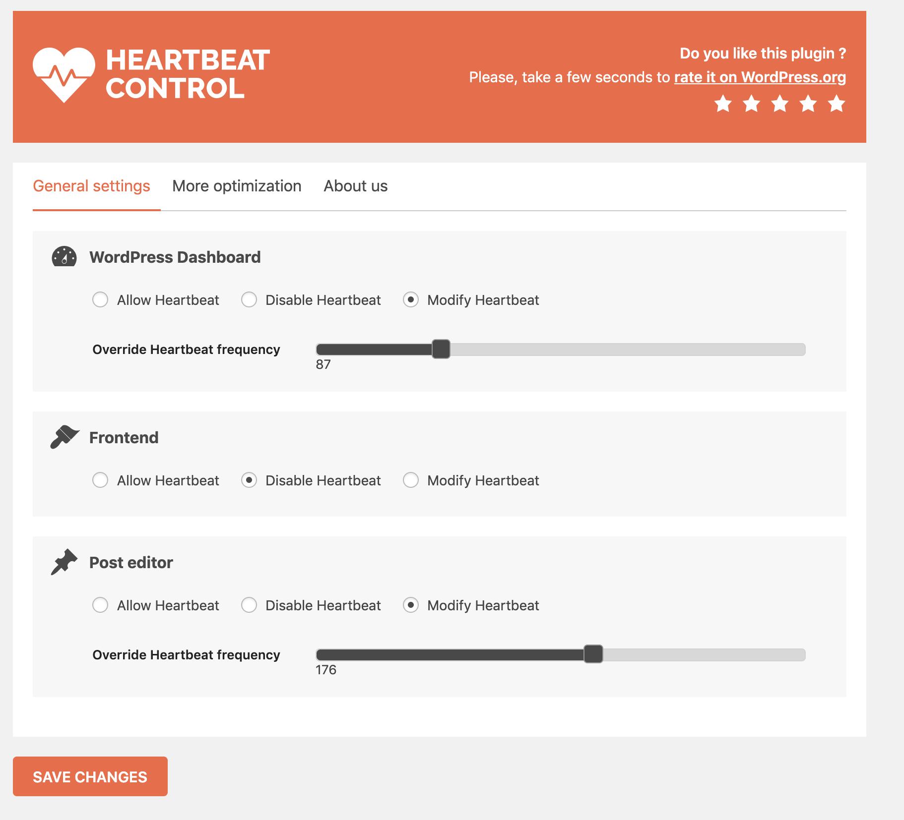 Heartbeat Control WP Rocket