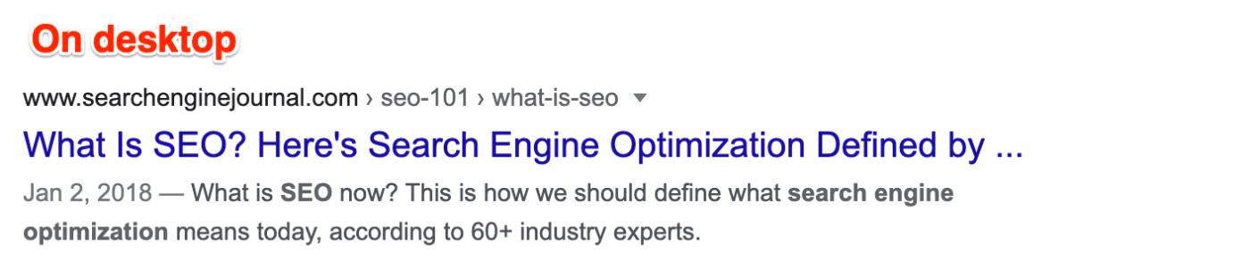 Meta description example on desktop