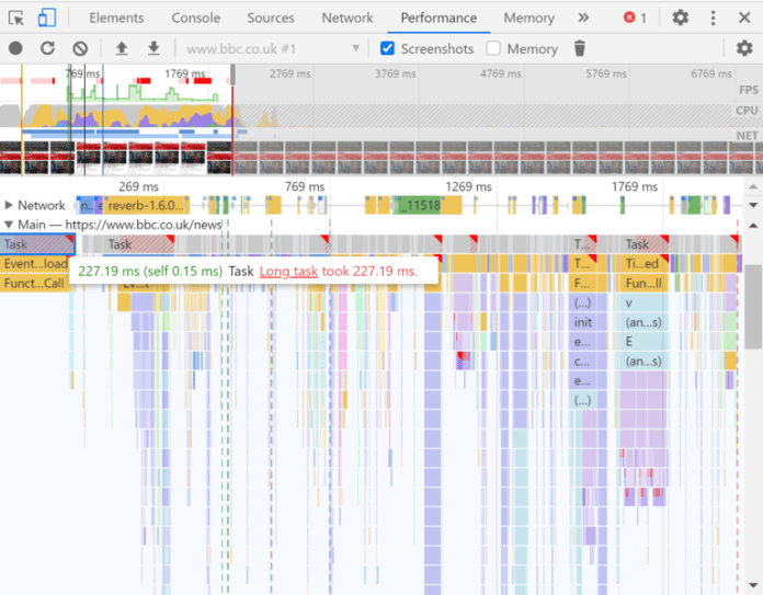 Inspecting long tasks in Chrome DevTools