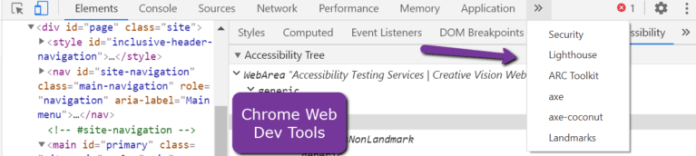 Web developer tools with accessibility settings in Chrome browser.