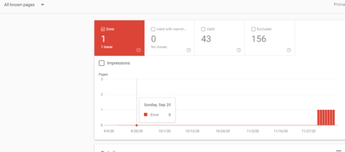 Google Search Console - Index Coverage Report, second view